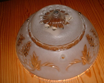 Vintage Frosted Molded Glass Pink/white  Ceiling Light Fixture