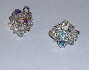 Laguna Aurora Borealis Crystal Vintage Beaded Earring Silvertone Clipon