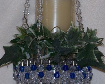 Crystal and Royal Blue Bead and Safety Pin Hanging Basket