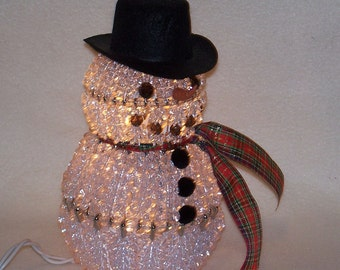 Bead and Safety Pin Lighted Snowman with Choice of Scarf Color