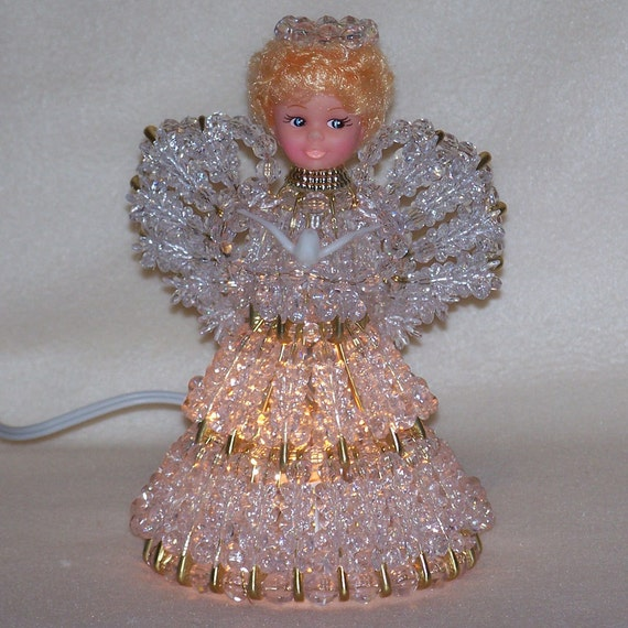 Lighted Bead and Safety Pin Angel