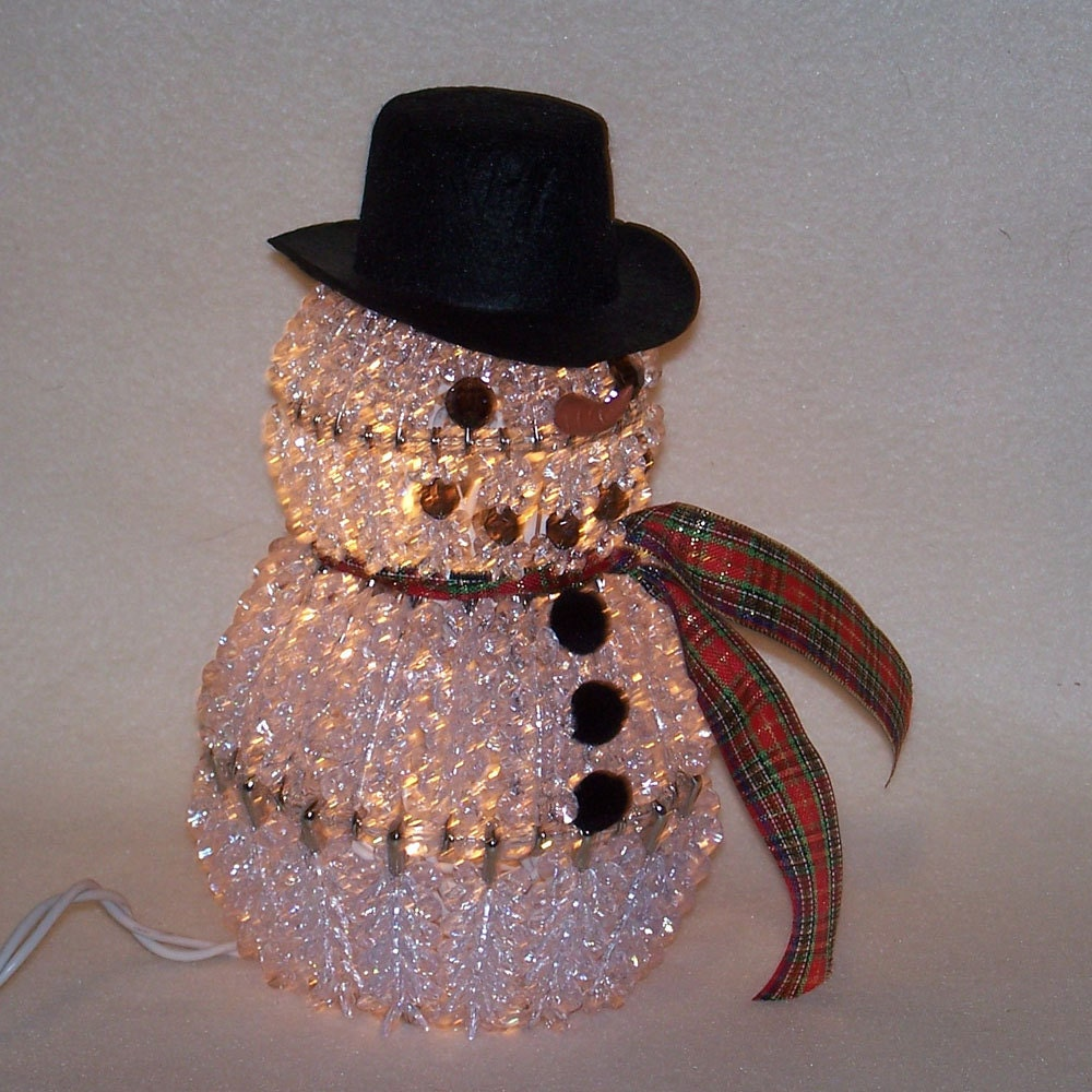 Wonderful Diy Ribbon Beads Christmas Tree: Bead And Safety Pin Lighted Snowman With Plaid Scarf