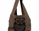 Owl Sling Bag- Canvas Book Bag, Bird Shoulder bag