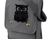Owl Messenger Bag -  Canvas Field Book Bag
