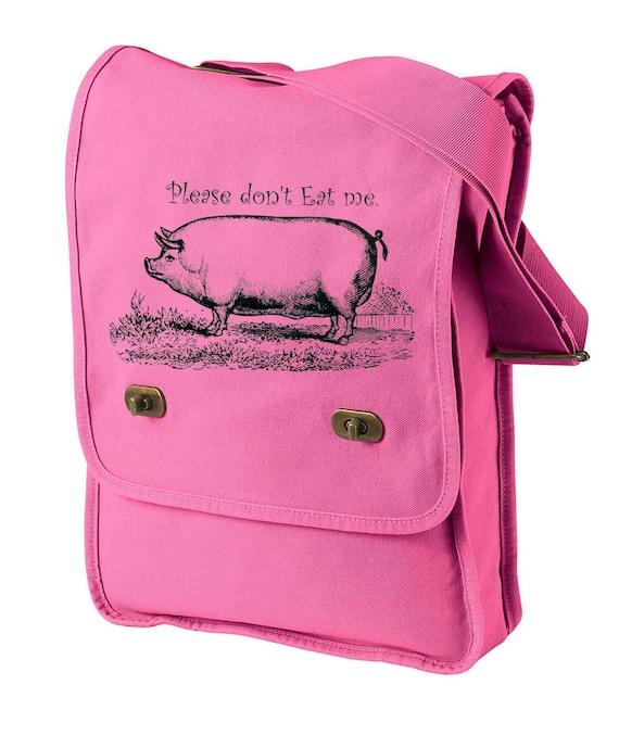 Messenger Bag Vegetarian, Please Dont eat me Pig - Animal Shoulder Bag Purse