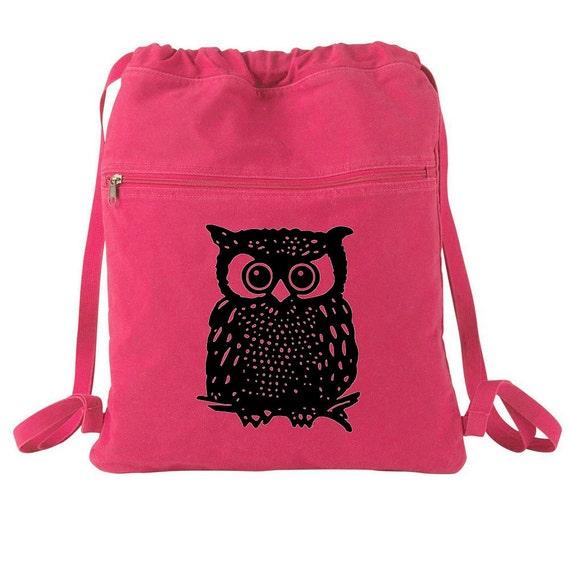 Owl Canvas Cinch Sack Tote Bag-Drawstring Backpack