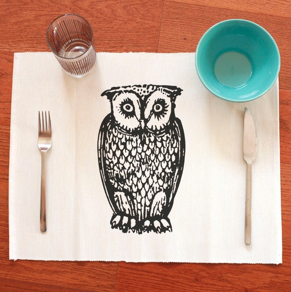 Owl placemats set of 4 bird kitchen decor by modern333 on etsy Owl kitchen accessories