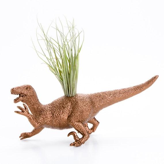 Dinosaur Planter with Air Plant Room Decor, College Dorm Ornament, Plants and Edibles, Metallic Copper Plant Pot