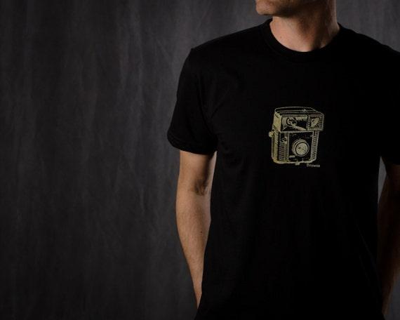 Brownie Camera Men's T Shirt, Retro Hand Printed Short Sleeve, Vintage Camera, Sizes  S-M, Black, Army Green, Asphalt Gray