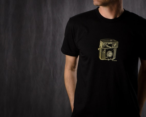 Brownie Camera Men's Photography Tee Shirt, Hand Printed Short Sleeve Sizes  S-M-L-XL, Black, Grey, Army Green