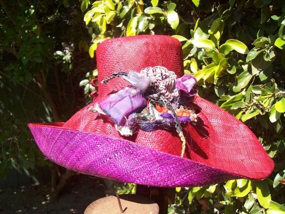 Cranberry Large Brim  Linen Straw Hat with Purple Underside