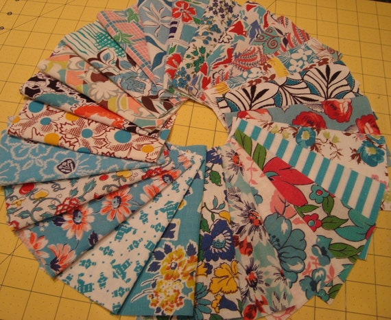 "24 Best Aqua Vintage Feedsack Fabric Assortment for Quilts or Crafts  6"" Squares Novelty"