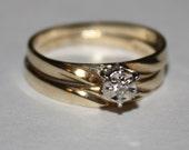 Vintage Diamond Ring 10k Yellow Gold Wedding Set Size 5