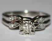 Antique Diamond Ring 14K White Gold Ring Wedding Set