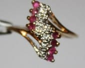 Vintage Ruby & Diamond Ring 14K Gold Ring