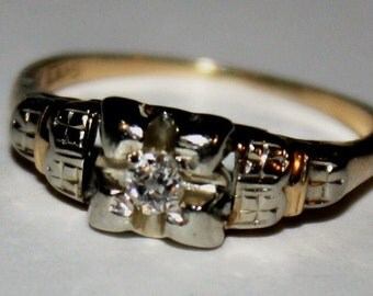 Antique  Diamond Ring 14k Yellow Gold and White Gold Ring Size 6