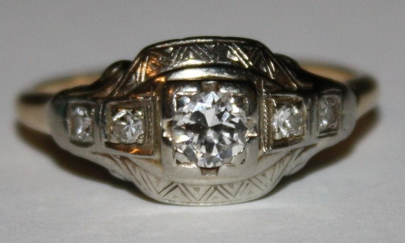 Antique Diamond 14k White Gold and Yellow Gold Ring