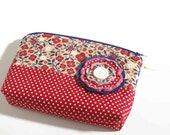 Jewelry Travel Bag. Anti Tarnish. Zippered Storage with 2 Interior Pockets. Riley Blake Fabric. Red. Blue. Flower