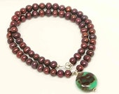 Chrysoprase Necklace. Green and Brown, Freshwater Pearls with Sterling Silver. Earthy