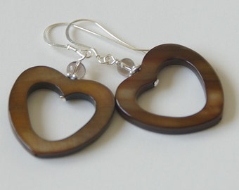 Heart Earrings. Brown Mother of Pearl Shell, Smoky Quartz and Sterling Silver.