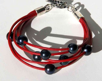 Red and Black Bracelet. Multistrand Leather, Black Pearls with Sterling Silver Toggle