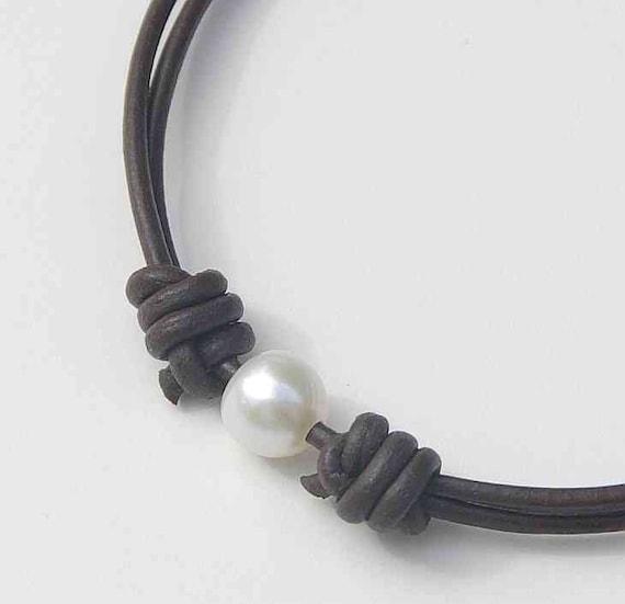 Brown Leather Anklet Bracelet. White Freshwater Pearl. Adjustable.