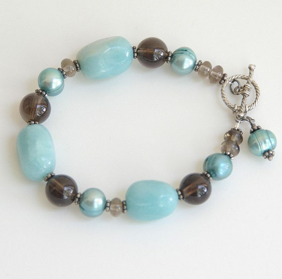 Quarry Blue and Brown Gemstone Sterling Silver Bracelet - Smoky Quartz, Pearl, Amazonite, Chunky, Nuggets, Pantone Cockatoo