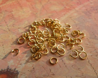 100 4mm Open Jump Rings Gold Plate Lead/Nickel Free 20G