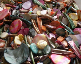 100 pc Mother of Pearl MOP Bead Component Mix