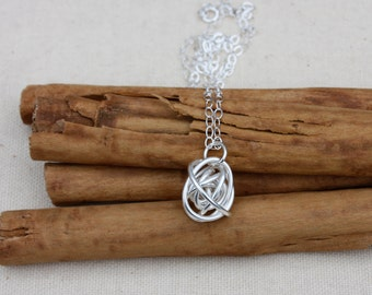 Silver Tumbleweed Necklace. Sterling silver Knot. Wire. knot.  perfect gift for her. minimalist. OOAK.