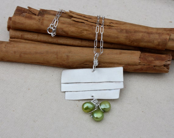 Handmade Sterling Silver Abstract Pearls Pendant.Bright Green pearls.wrapped pearls. OOAK Large Silver Necklace.