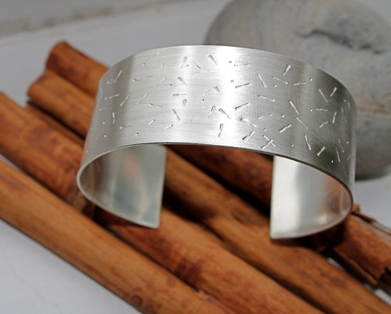 Cuff Bracelet. Sterling silver. wide. Abstract. handmade stamped bracelet. Satin brushed finish. large Silver Cuff. OOAK
