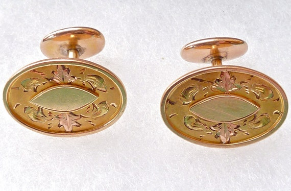 Vintage Gold Cufflinks 1920s Rose And YG Fill