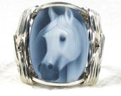 Fine Horse Agate Cameo Sterling Silver Ring Custom Jewelry
