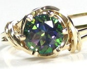 Natural Fire Mystic Topaz Gemstone Ring 14K Rolled Gold Any Size