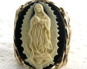 Our Lady Of Guadalupe Virgin Mary Cameo Ring 14K Rolled Gold Spiritual Jewelry
