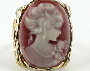 Lady Rose Pink Cameo Ring 14K Rolled Gold Custom Jewelry