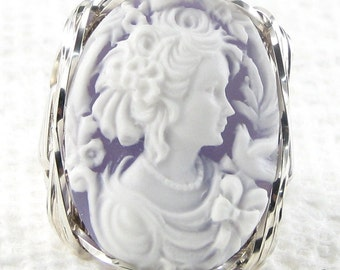Lady Dove Cameo Ring Sterling Silver Artistic Jewelry