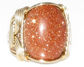 Brown Goldstone Cabochon Ring 14K Rolled Gold Custom Jewelry
