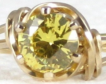 Fine Citrine Gemstone Ring 14K Rolled Gold Jewelry Any Size