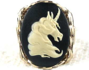 Unicorn Cameo Ring 14K Rolled Gold Jewelry