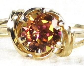 Natural Twilight Orange Mystic Topaz Gemstone Ring 14K Rolled Gold Jewelry Any Size