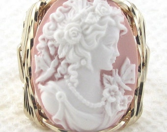Grecian Goddess Butterfly Cameo Ring 14K Rolled Gold Custom Jewelry