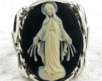 Virgin Mother Mary Cameo Ring Sterling Silver Custom Jewelry