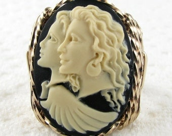 Guardian Angel Cameo Ring 14K Rolled Gold Custom Jewelry