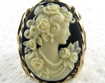Rose Goddess Cameo Ring 14K Rolled Gold Custom Wire Art Jewelry