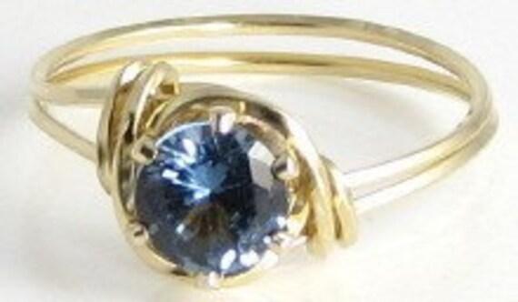 Lab Blue Zircon Gemstone Ring 14K Rolled Gold