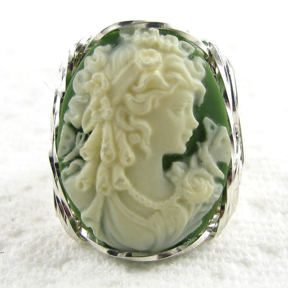 Grecian Goddess Butterfly Cameo Ring Sterling Silver Artisan Wire Jewelry