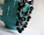 A Touch of Black - Crystal Cluster Bracelet