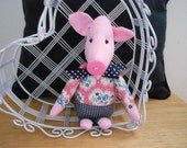 Tiny Pink Pig Handmade in Pink Print and Blue Check with Pink Button Nose